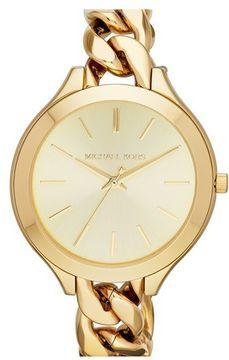 MICHAEL Michael Kors Michael Kors 'Slim Runway' Chain Bracelet Watch, 42mm on shopstyle.com