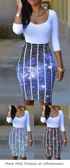 Catch people's eyes with fantastic printed shining starrysky! Everyone just needs one piece of beautiful, stylish midi dress! Show your perfect figure in this spring and summer! Cute Fashion, Look Fashion, Autumn Fashion, Womens Fashion, Dope Outfits, Chic Outfits, Fall Outfits, Sexy Dresses, Cute Dresses