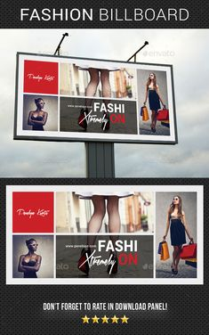 Buy Fashion Billboard 03 by rapidgraf on GraphicRiver. Highly editable PSD Banner template, very easily customize to make it your own in seconds! Clothing Advertisements, Fashion Advertising, Billboard Design, Logo Design, Graphic Design, Outdoor Banners, Fashion Brand, Fashion Design, Print Templates