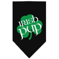 Irish Pup Screen Print Bandana Black Large