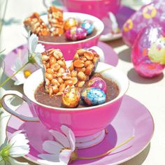 Your Family has been creating delicious recipes for busy women since the and has a huge repertoire of nutritious, easy and lip-smacking recipes on hand! Easter Chocolate, Chocolate Pots, Small Tea Cups, Delicious Desserts, Dessert Recipes, Good Food, Yummy Food, Peanut Brittle, Easter Recipes
