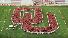 "Our new Sooners formed the ""OU"" on Owen Field Oklahoma University Football, Football Boys, Football Field, College Football, Baseball, Arkansas, Iowa, Kentucky, Oregon"