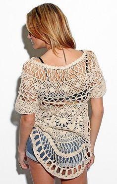Outstanding Crochet: Crochet tops from Foley +foley Corinna. Crochet Tunic, Crochet Clothes, Crochet Lace, Diy Clothes, Crochet Tops, Crochet Woman, Love Crochet, Beautiful Crochet, Crochet Designs