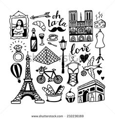Find Cute Cartoon Princess Collection Throne Castle stock images in HD and millions of other royalty-free stock photos, illustrations and vectors in the Shutterstock collection. Doodle Wall, Doodle Art Letters, Doodle Drawings, Illustration Française, Illustrations, Paris Drawing, French Icons, World Thinking Day, Doodles