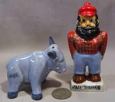 Vintage Paul Bunyan His Blue Ox Babe s P Shakers