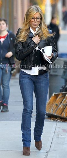 Seen on Celebrity Style Guide: Jennifer Aniston on the Set of Wonderlust in NYC November 18,2010