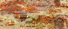 Bronze Age Minoan Flotilla Fresco excavated at Akrotiri, on the Greek island of Santorini. The eruption of a volcano about 1630 BC preserved for us today these stunning frescos. Photo via Wiki Commons.