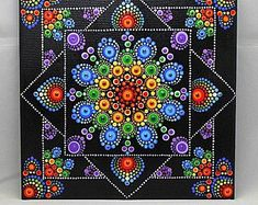 Hand painted with acrylic in Multicolor, sprayed with a high gloss sealer to protect the colors. Dot Art Painting, Mandala Painting, Painting Patterns, Design Mandala, Mandala Pattern, The Dot, Art Pierre, Mandala Canvas, Mandala Art Lesson