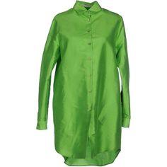 Etro Shirt (26.125 RUB) ❤ liked on Polyvore featuring tops, acid green, etro, extra long sleeve shirts, long sleeve shirts, long sleeve silk top and green shirt