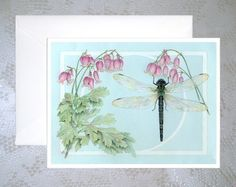 Dragonfly Botanical note cards  Set of 4 by wthompsonart on Etsy, $12.00