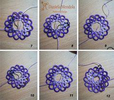 Filigree Stitch - Punto Filigrana Tatting Lace, Tatting Patterns, Pinwheels, Doilies, Filigree, Crochet Necklace, Projects To Try, Weaving, Cross Stitch
