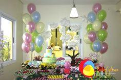 Decoração Peppa com balões duplos. Créditos:  Balão Cultura www.boxbalao.com Birthday Candles, Birthday Cake, Peppa Pig, Desserts, Pastel, Food, Ideas Para Fiestas, Colors, Culture