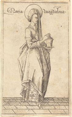 """Meckenem, Israhel van German, c. 1445 - 1503 """"Saint Mary Magdalene"""" c. 1470 engraving National Gallery of Art"""