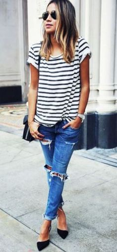 this boyfriend jeans and heels or cute flats outfit is so cute!