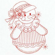 Premium Embroidery Embroidery Design: Redwork Snow Girl 3.80 inches H x 3.10 inches W