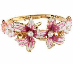 Kenneth Jay Lane's Enamel Dreamtime Lily Bangle Bracelet