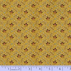 """Olde Townhouse - Paula Barnes -  Marcus Fabric  R22 5476 0115 Gold with leaves and brown 100% Cotton  44-45"""" wide 1800's Reproduction print"""
