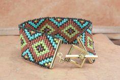 BRACELET Concentric Diamond Seed Bead Bracelet - Southwest Western Cowgirl - SRAJD Teal Eve's tealeves