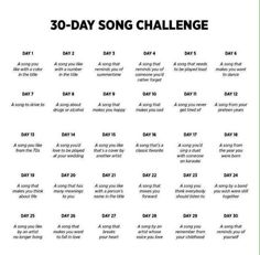 30 days song challenge on We Heart It Imagine article, challenge, and music<br> So, I saw this pretty cool challenge about choosing a song per day and I decided to do it just for fun. I challenge you to do it! A song you li.
