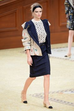 Navy tweed and embellished parka on Chanel's F/W 2015 runway