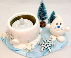 Winter Wonderland Parker Snow Pile Tea Light by KatersAcres