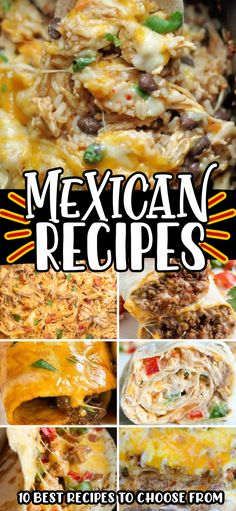 Easy to Make Mexican Dinner Recipes perfect for any weeknight are not only delicious, but they use simple budget friendly ingredients too! From Slow Cooker Chicken and Rice, to an Authentic Beef Enchilada Recipe, we have something that everyone in the family will fall in love with! #dinner #mexican #food #recipes #slowcooker #crockpot #cheese #rice #meat #enchiladas #pinwheels #casserole #taco #beef #chicken #quesadilla #beans