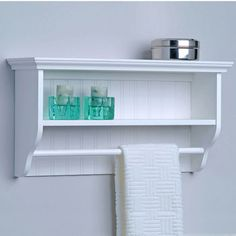 "Bathroom Cabinets With Towel Rack oia 19.63"" w x 22.5"" h two tier bathroom shelf with towel bar"