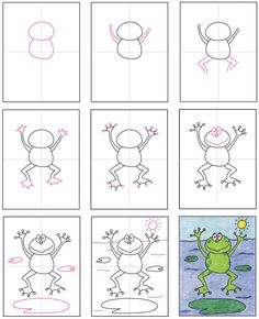 How to Draw a Frog · Art Projects for Kids Drawing Lessons For Kids, Art Drawings For Kids, Easy Drawings, Art For Kids, Frogs For Kids, Classe D'art, Frog Drawing, Kindergarten Art Projects, Frog Art
