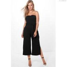 e9ea1dd3c9 Boohoo Plus Bandeau Tie Waist Jumpsuit Black Size UK 18 EE 02 for sale  online