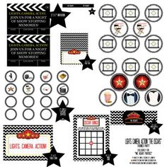 We Heart Parties: Free Printable Party Decor, Banners, Cupcake Toppers, Water Bottle Labels Black Chevron Oscars Party