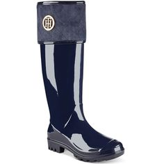 Tommy Hilfiger Shiner Rain Boots (1.635 CZK) ❤ liked on Polyvore featuring shoes, boots, blue, tommy hilfiger shoes, blue shoes, wellington boots, blue boots and wellies shoes