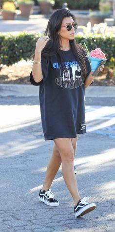 Kourtney Kardashian | Vans Old Skool Lite | Celebrity Fashion and Style