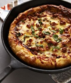 Cast Iron Baked Pizza with Sausage, Red Onions and Balsamic Herb Sauce « Canadian Family