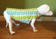 Flannel & Fleece Dog Coat, Small, Aqua Blue and Lime Green Leaf Print Fleece with Aqua Fleece Lining  www.TheThimbleAndHound.com