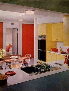 Mad Men decor...kitchen...yellow...red...orange