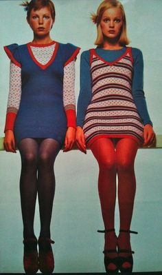 60s 70s mini dress twiggy mod baby doll tights knit stripes blue red vintage fashion style color photo print ad models magazine