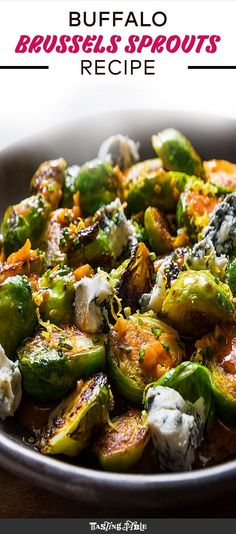 Will it Buffalo? Roast brussels sprouts are tossed in a garlicky Buffalo sauce before getting topped with blue cheese and lemon zest for the perfect vegetable side. Sprout Recipes, Veggie Recipes, Real Food Recipes, Vegetarian Recipes, Cooking Recipes, Healthy Recipes, Kid Cooking, Vegetarian Cooking, Ketogenic Recipes