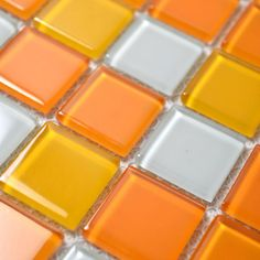 Glass Mosaic Tiles White and Orange Mixed Crystal Glass Tile Kitchen Backsplash Wall Tile Stickers Bathroom Flooring Mosaics B41 US $217.96