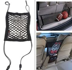 Need extra space in the car? Use a mesh bungee for storage space. Check out these cool travel hacks... #spon #tips #lifehacks