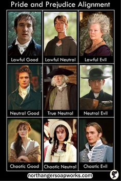 A Pride and Prejudice alignment chart, Dungeons and Dragons style! This is how I spent my youth--playing dungeons and dragons style games and watching Pride and Prejudice every weekend. Visit the article for the reasons and explanations:) Pride And Prejudice Author, Pride And Prejudice Quotes, Darcy And Elizabeth, Jane Austen Books, Matthew Macfadyen, Mr Darcy, Classic Literature, Humor, Dungeons And Dragons