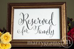 Reserved for Family Sign Table Card  Wedding by marrygrams on Etsy, $8.00