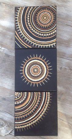 Crafts Canvas Earth toned natural trio dot art painting on canvas art mandala Mandala Art, Mandala Canvas, Mandalas Painting, Dot Art Painting, Stone Painting, Abstract Art, Diy Canvas, Canvas Art, Aboriginal Art