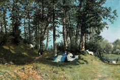 Frank Buchser - At the edge of the forest near Solothurn