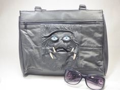 Two Faced Monster Purse Large Handbag Black Leather by pippenwycks