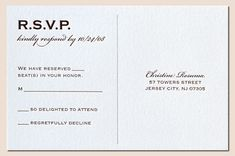 """RSVP postcard at the end of a seal and send invite. Also addresses the """"Plus One"""" issue."""