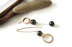 Pink gold asymmetrical earrings Khaki mismatched by UneDemiLune