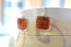 Halloween earrings  Fused glass earrings  Spider by BGLASSbcn