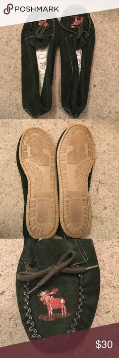 Moccasins Women's size 10 authentic moccasins. Dark green in color with embroidered moose on the top. Very comfortable. Worn only a few times (inside the house). Selling them because I hope someone else will get more use out of them. (They're just not my style). Shoes Moccasins