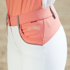 *Style Tip: These are European and run one whole size large! Go down a size when ordering! These lovely training breeches have elegant detail in a gorgeous color-block pattern.These breeches have leat