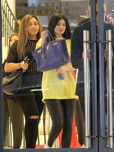 Kylie Jenner, trailed by BFF Jordyn Woods, leaving after a shopping trip at Barneys New York